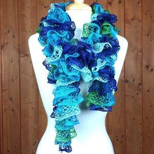 Accessories - Blue & Green Loose Crochet Decorative Scarf 泥
